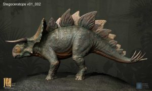 Jurassic World stegoceratops concept. This dino hybrid was cut from the film.