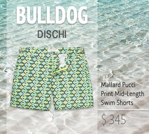 PICCU PRINT BULLDOG DISCHI MALLARD GREEN SWIM SHORTS BY ORLEBAR