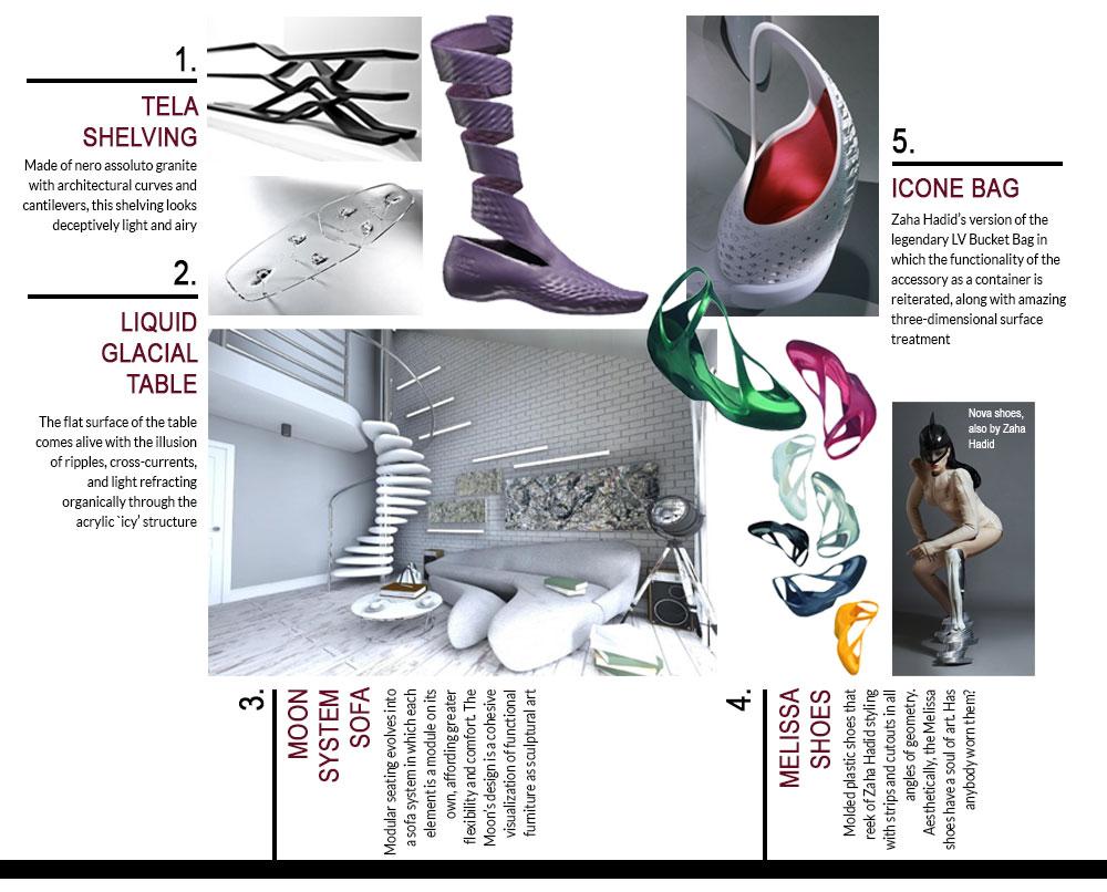 Zaha-Hadid-Collections-Glacial-Table-Moon-Sofa-Melissa-Shoes-Icone-Bag-Tela-Shelving-Lacoste-Shoes