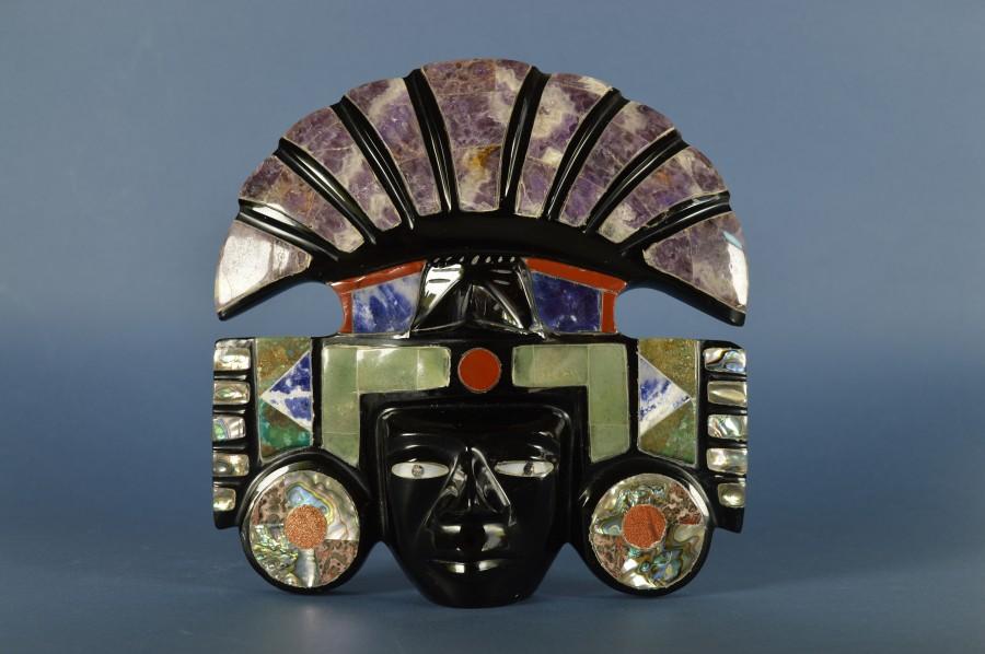 Azteken masker met hoofdtooi  Bodour