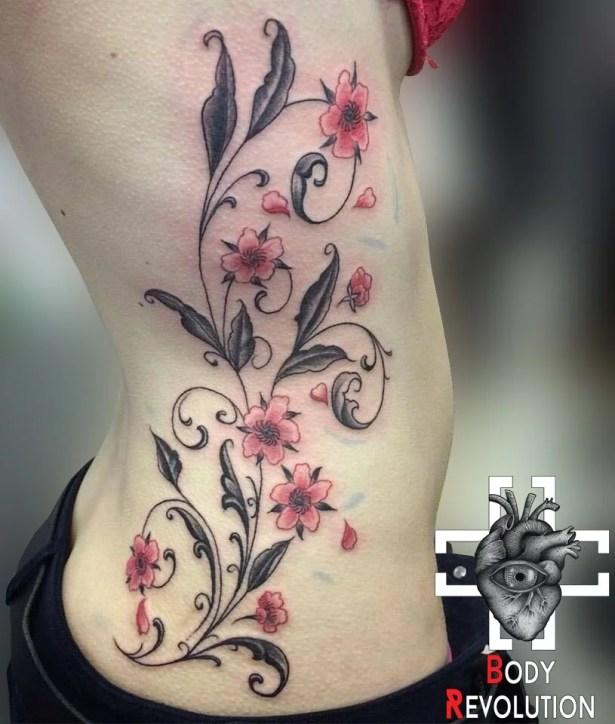 morgan tatouage fleur sakura cerisier arabesque. Black Bedroom Furniture Sets. Home Design Ideas