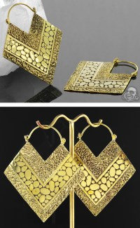 Solid Brass Texture Diamond Hoops