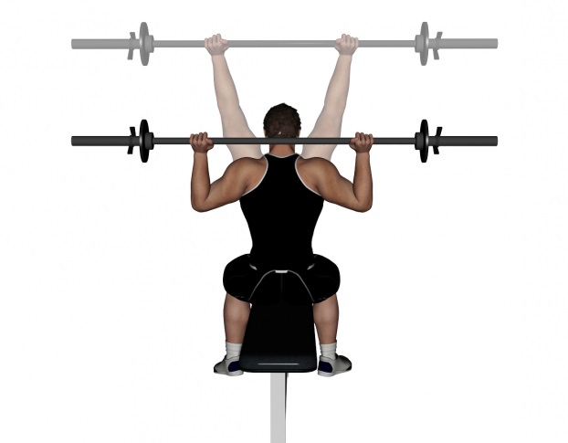 Behind the Neck Shoulder Press • Bodybuilding Wizard
