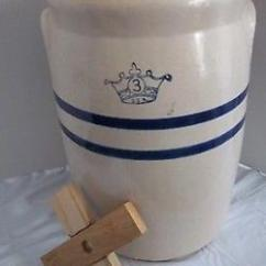 Kitchen Aide Food Processor Large Play Vintage Blue Crown Stripes Stoneware 3 Gallon Butter Churn ...