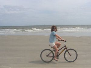 Bike riding along the shore