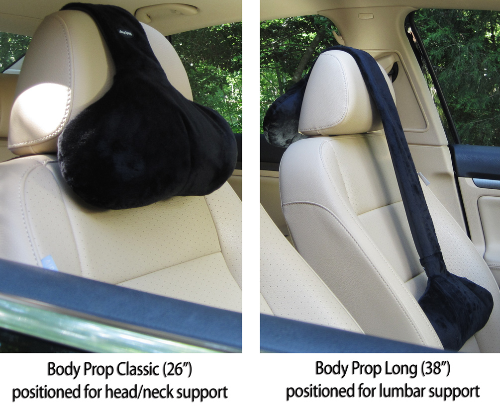 Adjustable neck pillow hangs over your seat for firm head for Chair neck support attachment uk