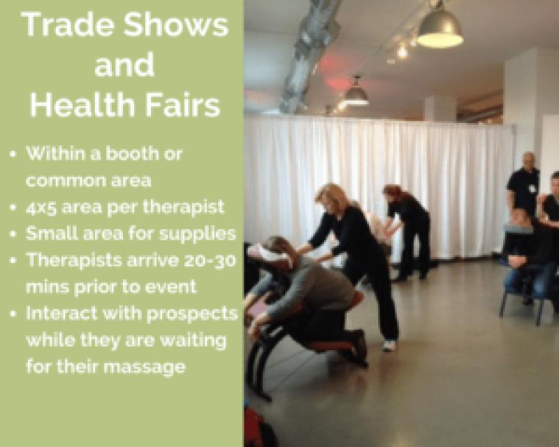 charlotte corporate chair massage employee health fairs trade show north carolina