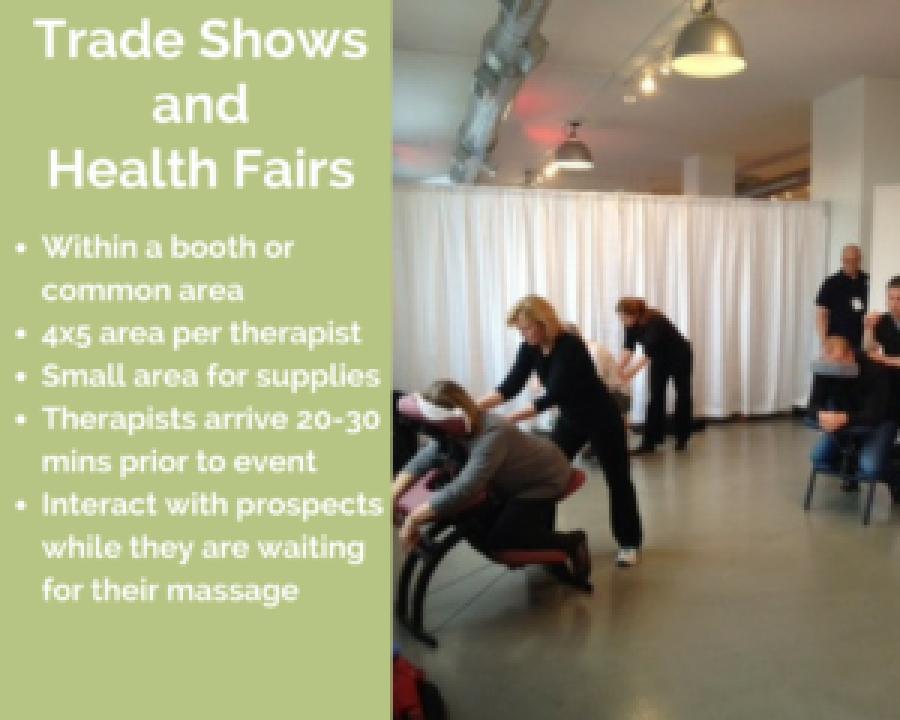 elk grove corporate chair massage employee health fairs trade show illinois