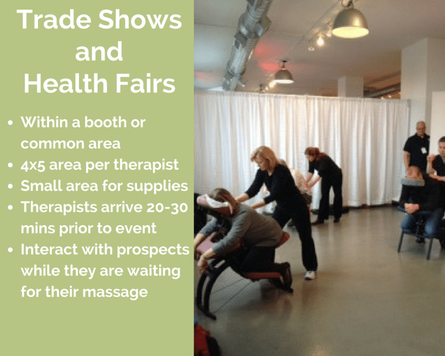 rochester corporate chair massage employee health fairs trade show new york