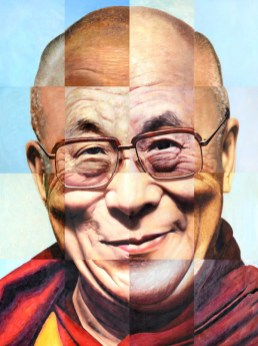 Portret Dalai Lama, in China geschilderd.