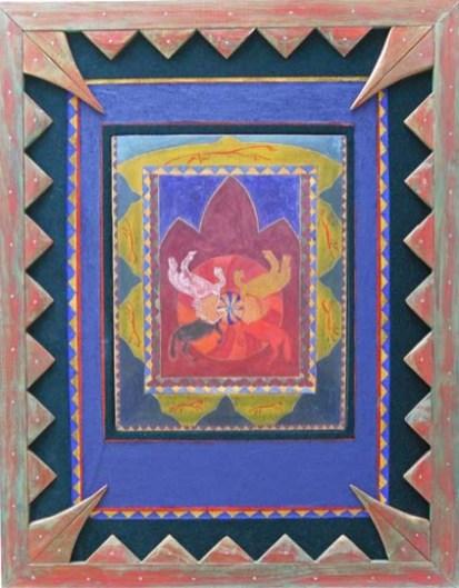 Ode aan Tibet en vrijheid van religie. Windhorse betekent een op een papiertje geschreven gebed, dat vanaf een berg aan de wind wordt meegegeven, van oorsprong een Tibetaanse traditie. Hanny schilderde vier paarden in de vier kleuren van de vier windrichtingen, verbonden met een wiel, symbool voor het tijdloze. Het schilderij heeft een omlijsting van groen beschilderd fluweel, met daaromheen een handgemaakte lijstdecoratie.