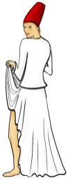 Derwisj die ondeugend over zijn schouder kijkt en de voorkant van zijn rok omhoog houdt.