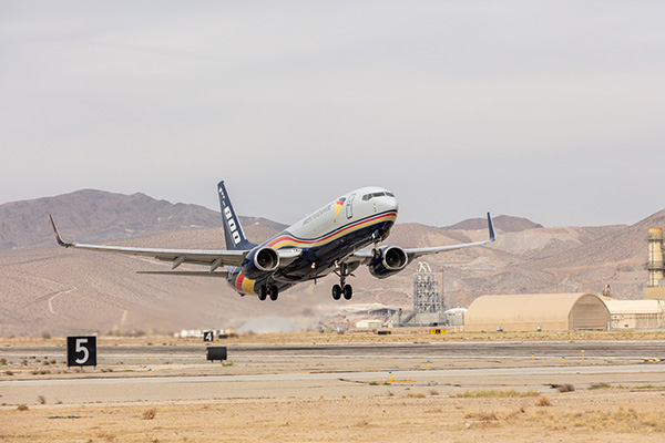 Boeing 737-800 converted freighter takes off from Victorville, Calif.