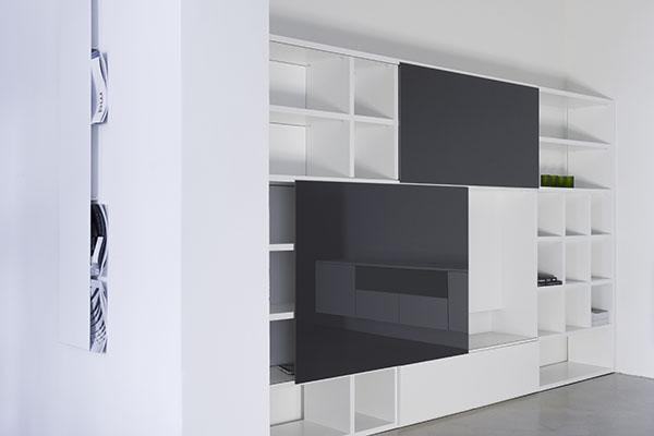 Boekenkastfabriek TV en opbergkasten voorbeelden