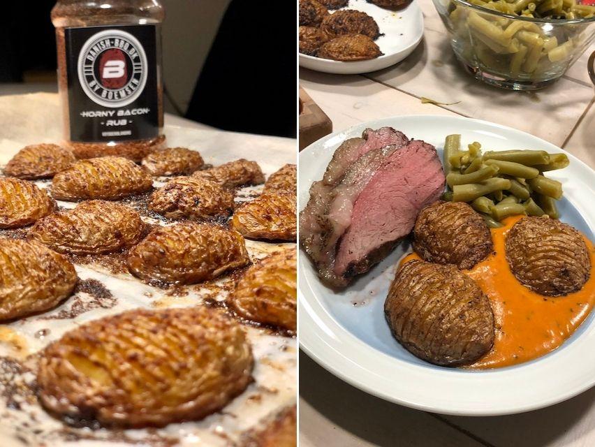 Culottesteg med Horny Bacon Kartofler, friske bønner og en Tomat Bearnaise