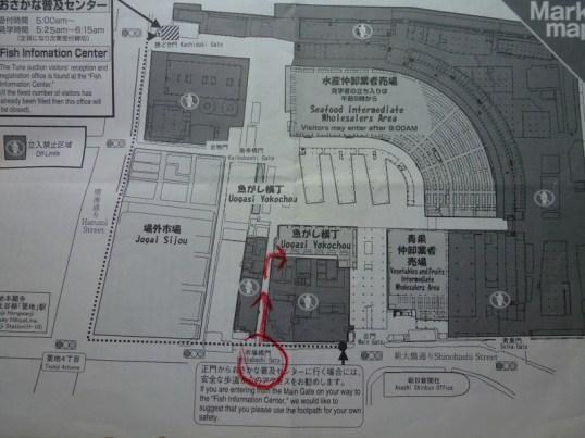 Peta Pusat pelelangan ikan Tsukiji