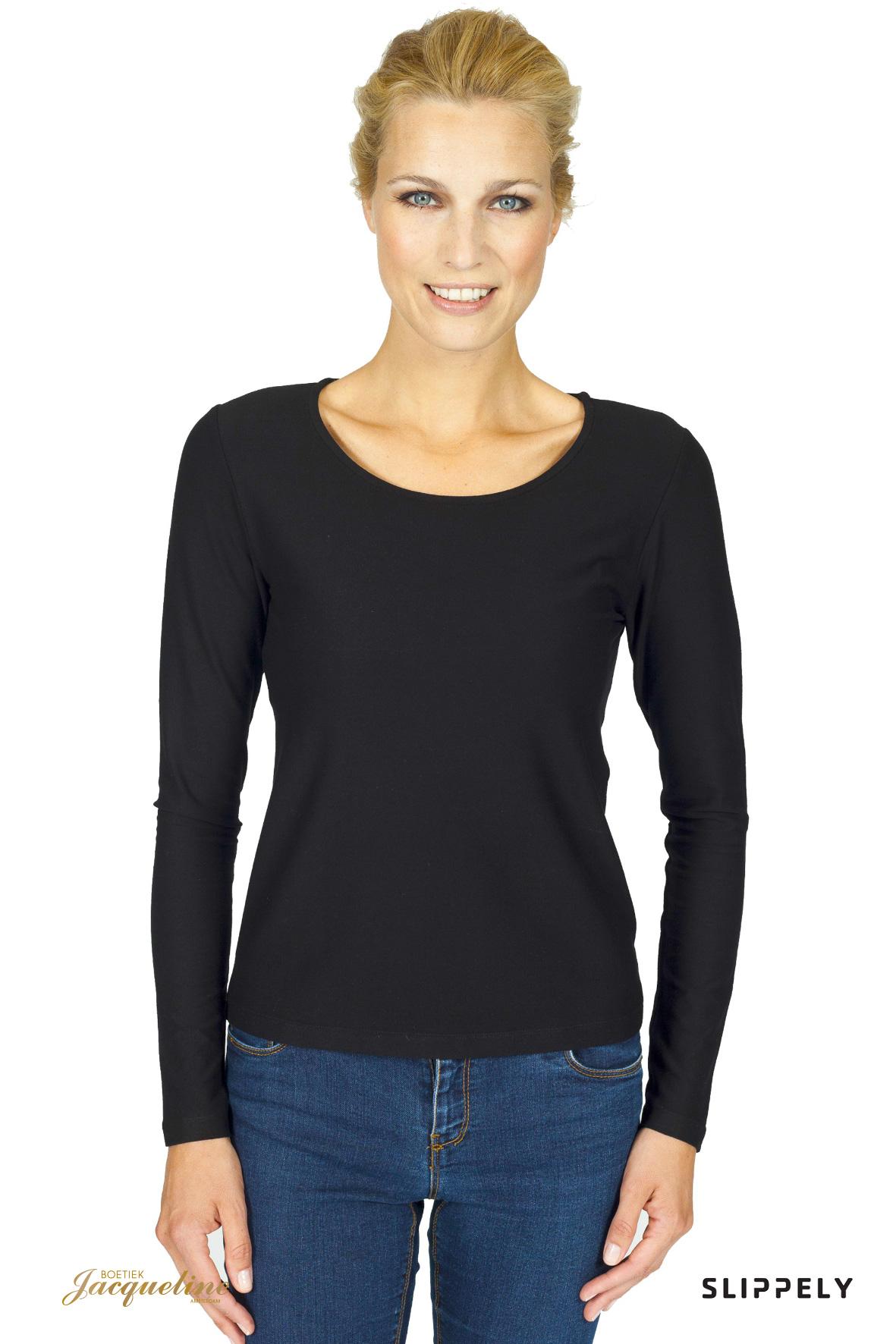 Slippely Shirt Long sleeve - 17060 - Zwart - Boetiek Jacqueline Amsterdam