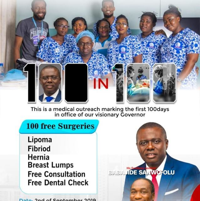 Celebrating Our Governor 100 days in office with100 free Surgeries!