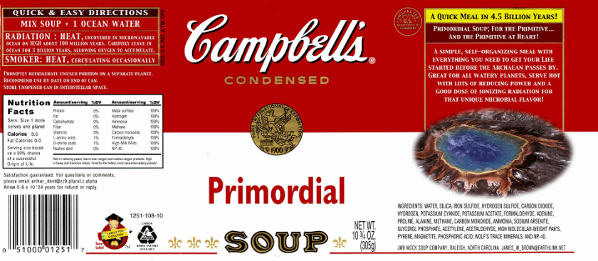 "Primordial Soup <a href=""http://www.mbio.ncsu.edu/jwb/soup.html"">courtesy of Dr. James W. Brown</a>"