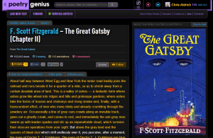 Screen capture from Poetry Genius featuring The Great Gatsby