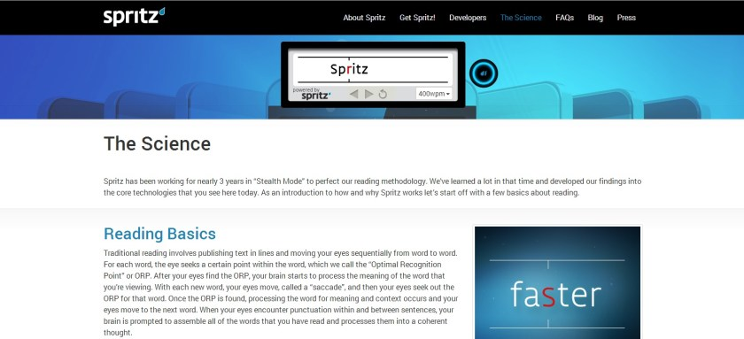A photo of how Spritz works for speed reading on the web.
