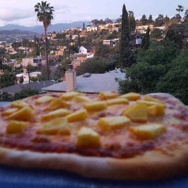 Just beat the setting sun with my pre-Passover pizza