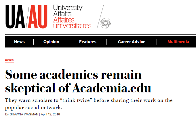 "Thoughts on ""Some academics remain skeptical of Academia.edu"" 
