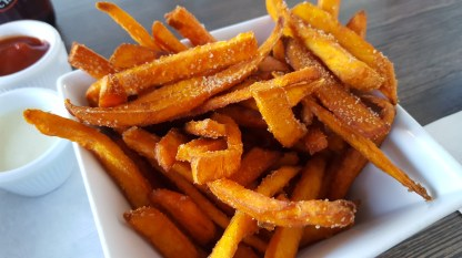 Check out the cinnamon on those sweet potato fries