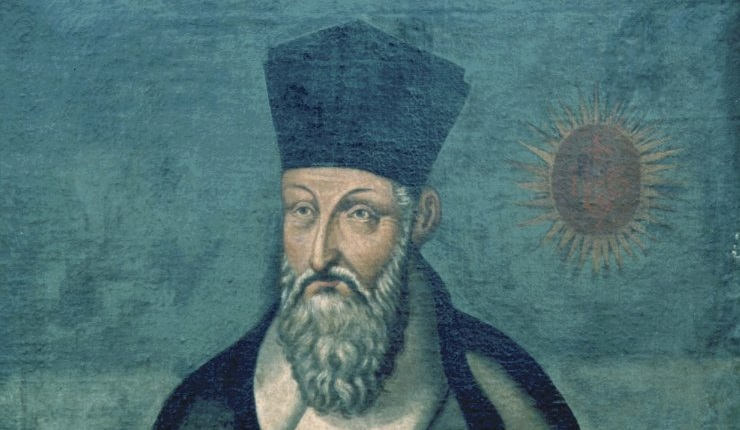 Old painting of Matteo Ricci with unusual hat and long gray beard and moustache.