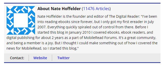 An example of a fantastic blog covering the publishing space, yet the author doesn't seem to know how to do his own avatar properly.