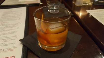 Old Fashioned with Jameson black and rose water at Montrose Town Kitchen & Grill