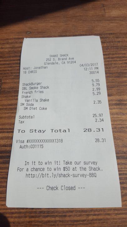 Shake Shack Glendale receipt