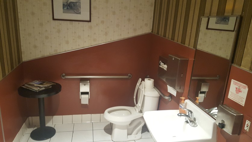 I don't think I've ever seen such a nice bathroom in a small bathroom, much less a sushi joint.