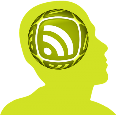 Green outline of a head with an RSS icon where the brain would be