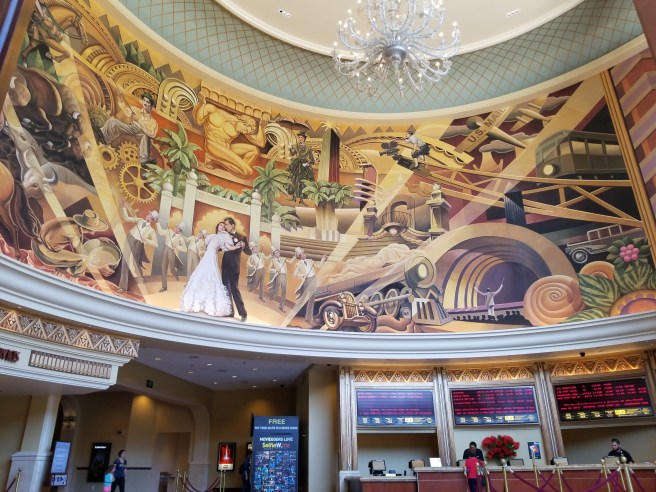 The mural in the lobby of the Pacific Theaters 18-plex at the Americana in Glendale