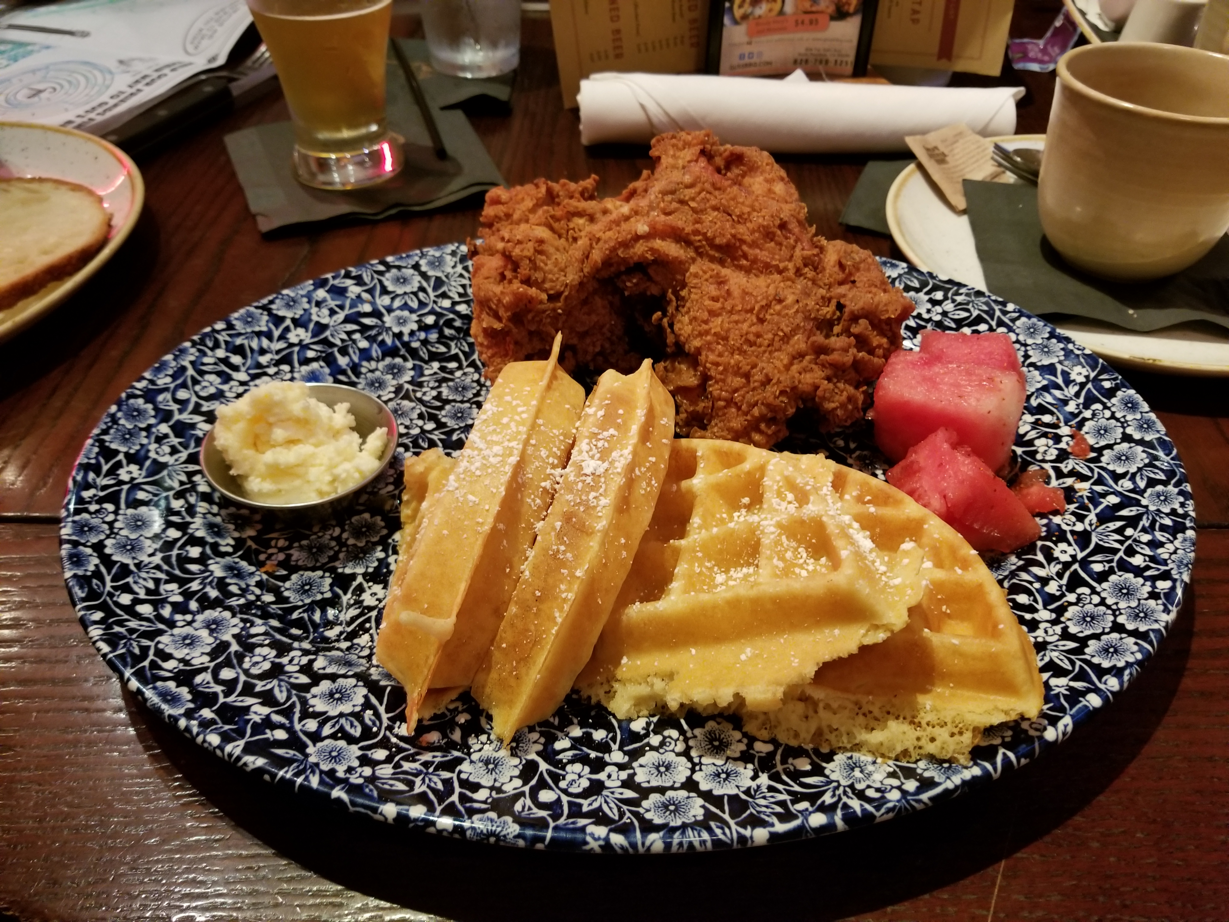 Chicken and Waffles. The chicken was deboned for easier eats!
