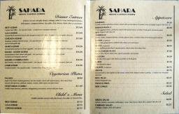 The menu at Sahara