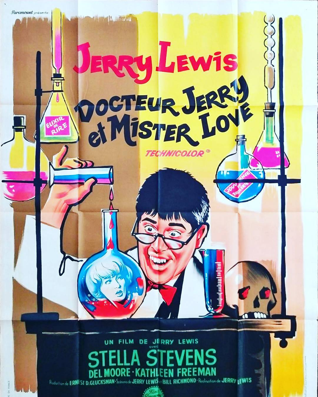 "riginal French one sheet 47″ X 63"" from the movie Docteur Jerry et Mister Love (aka The Nutty Professor) starring Jerry Lewis"