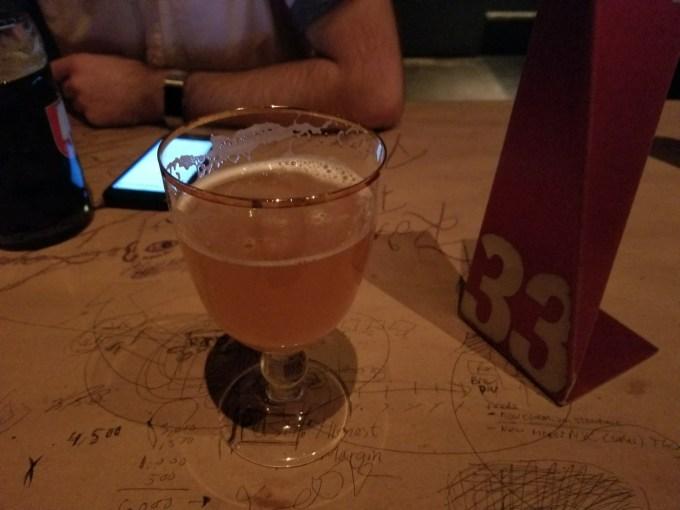 A yellow orangish beer