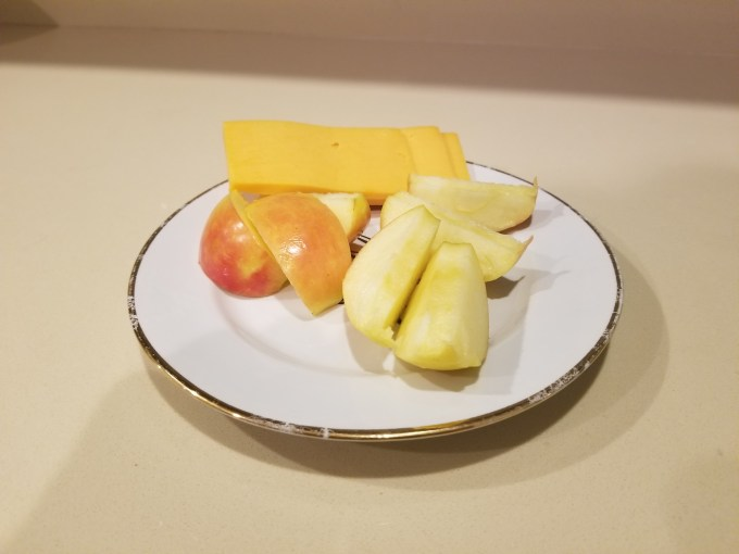 Snack: apples and sharp cheddar cheese