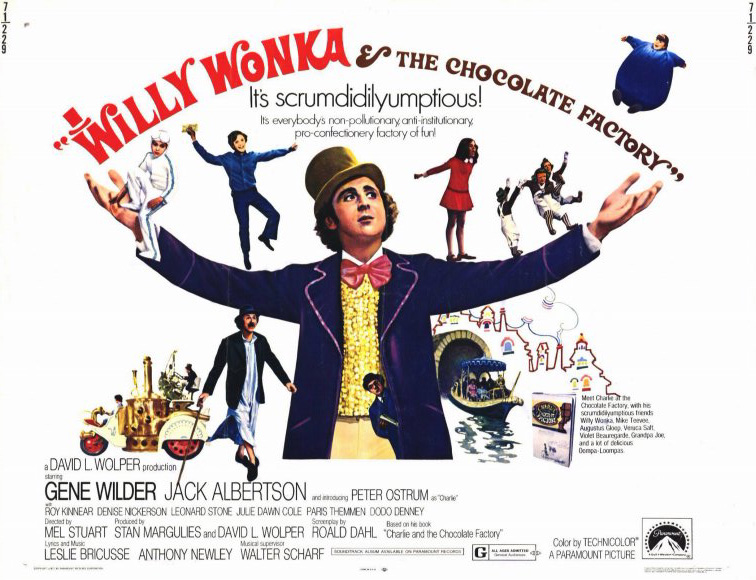 1971 Movie poster for Willy Wonka and the Chocolate Factory