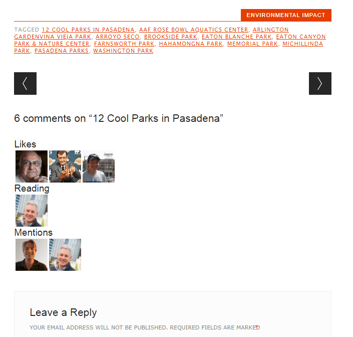 "Facepiled Likes, Reads, and Mentions in the comment section of the online newspaper with a heading ""Reading"" under which appears an avatar indicating one person has read the article."