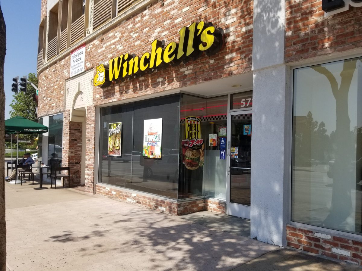 Storefront view of the Winchell's donut shop