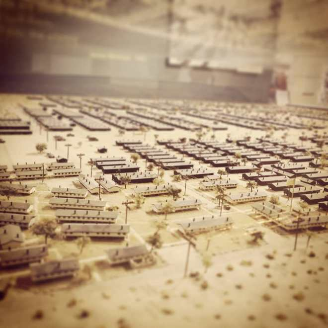 Tilt shift view of a model of the Manzanar internment camp