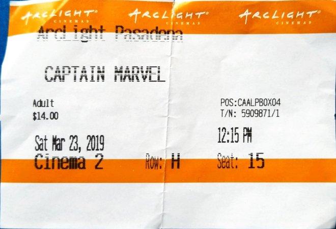 My ticket stub from the Arclight Pasadena for Captain Marvel