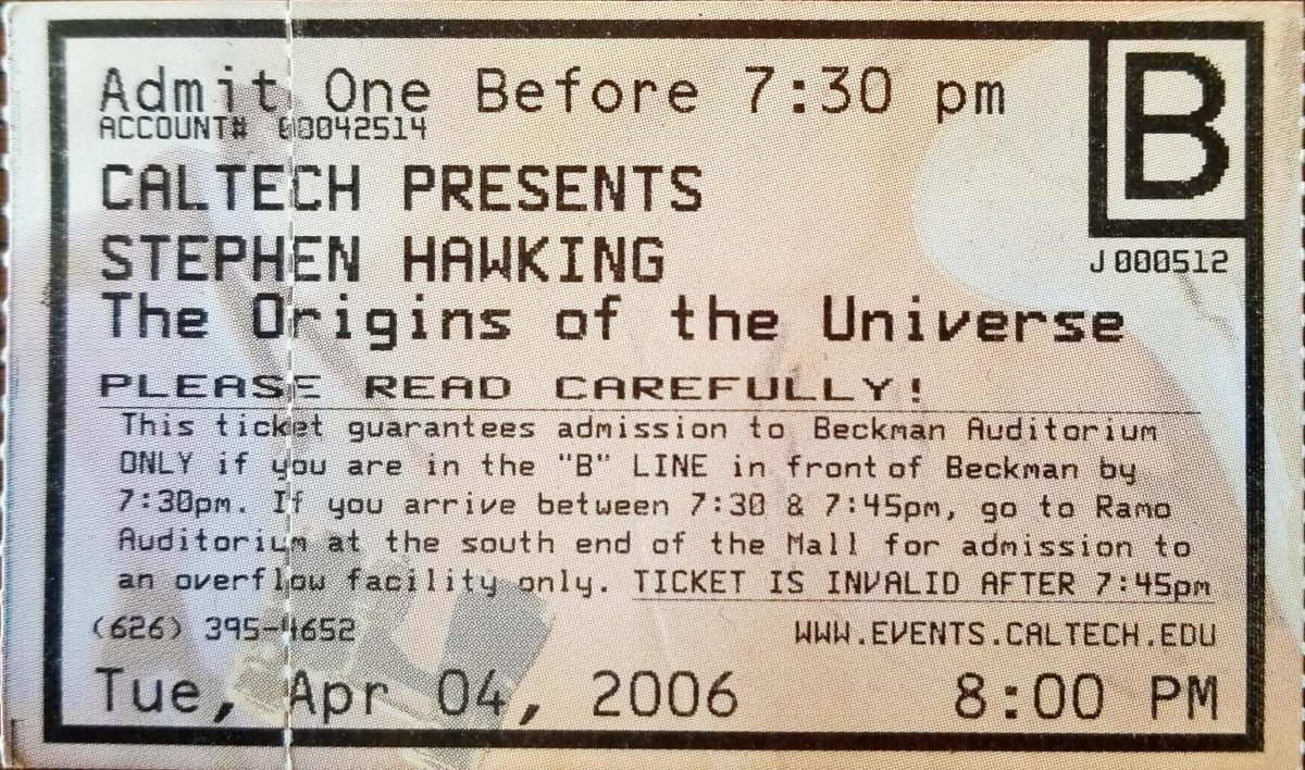 Ticket to see Stephen Hawking lecture at Caltech