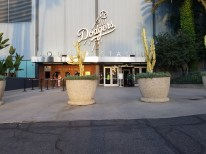 Not a single person in site at the exclusive entrance to the stadium makes the Dodgers logo all the more imposing.