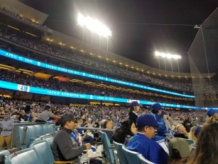 "View of the third base side of the crowd focusing on the two long thin advertising screens that wrap the stadium. They're entirely in stark blue with white lettering that reads ""Jackie Robinson Day - April 15, 2019"""