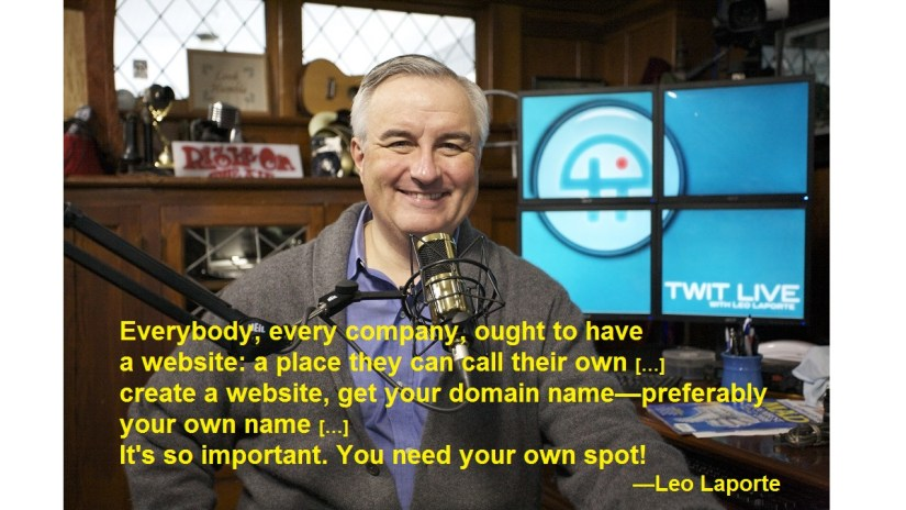 Leo Laporte smiling in front of a microphone in his podcast studio