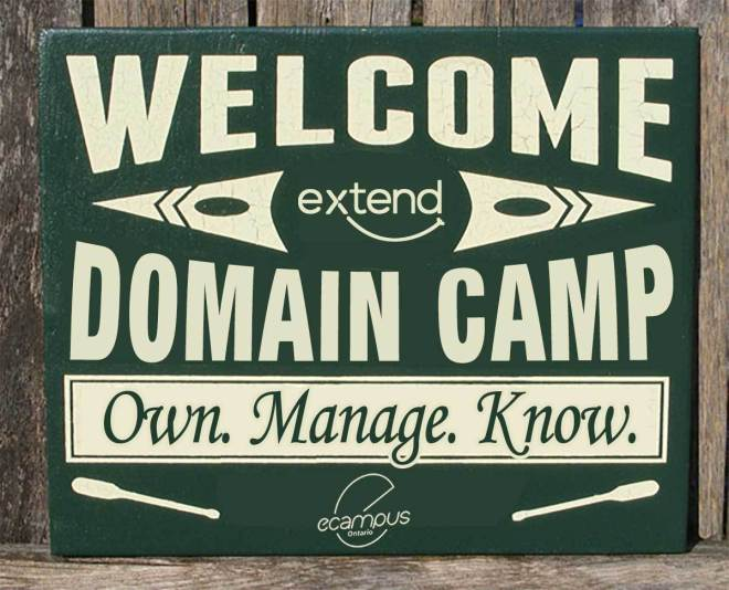 Wooden looking sign for Domain Camp